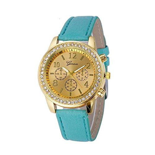 Armbanduhr Damen Ronamick Elegant Strass Analog Quarz, Frauen Mode Leder Band Analoge Quarz Runde Armband Uhr Uhren 2019 Neu LEEDY