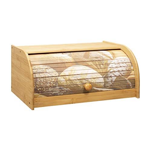 Woodluv - Panera de bambú natural para cocina, 40 x 25,5 x 17,5 cm