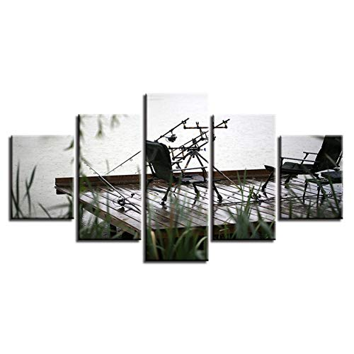 MMLFY 5 Leinwandbilder Art Decor Room Wandmalereien 5 Stück Angeln Utensilien und Stuhl Landschaft Poster Modulare Bilder Leinwand HD-Drucke