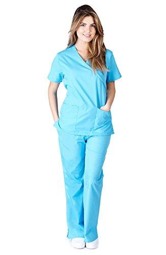 Natural Uniforms Women's Mock Wrap Scrub Set (Water Blue) (XX-Large)