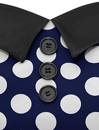 Dressystar Vintage Tupfen Retro Cocktail Abschlussball Kleider 50er 60er Rockabilly Neckholder Marineblue Weiß Dot L - 5