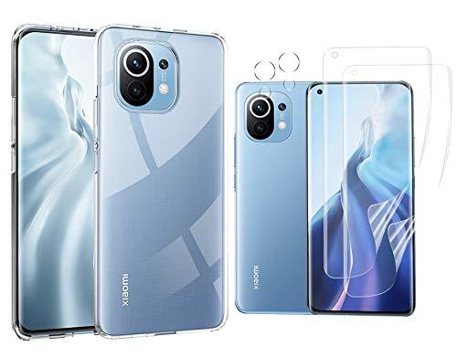 Effcotuo Hülle Kompatibel mit Xiaomi Mi 11 Cover, 2 Bildschirmschutz Schutzfolie und 2 Kamera Schutzfolie, 9H HD Klar Bildschirmschutz Blasenfrei, Weiche TPU Silikon Hülle Cover - Transparent