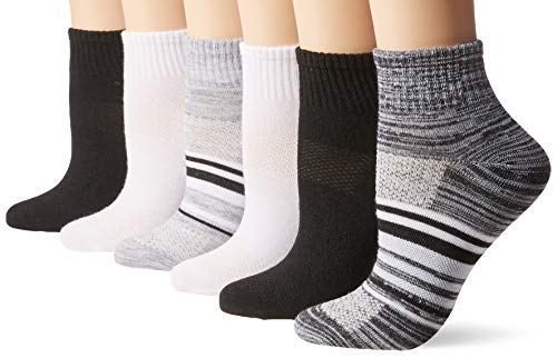 Hanes Women's Lightweight Breathable Ankle Socks 6 Pair Pack, Black/Grey Accent Design, Shoe Size: 8-12