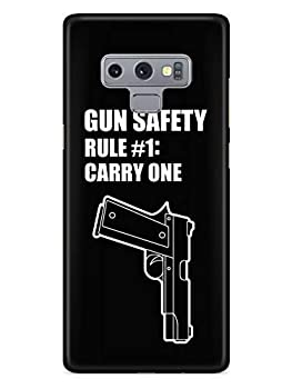 Inspired Cases - 3D Textured Galaxy Note 9 Case - Rubber Bumper Cover - Protective Phone Case for Samsung Galaxy Note 9 - Gun Safety - Rule #1  Carry One