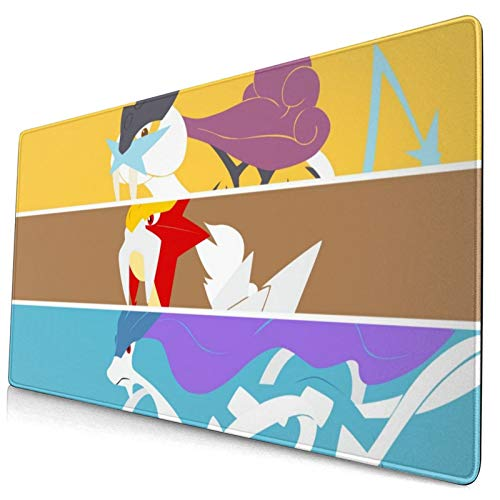 Anime Po-Ke_Mon Raikou&Entei&Suicune Mouse Pad Laptop Non-Slip Rubber Base Extension Game Large Mouse Pad Office Home Gamer 15.8x29.5in