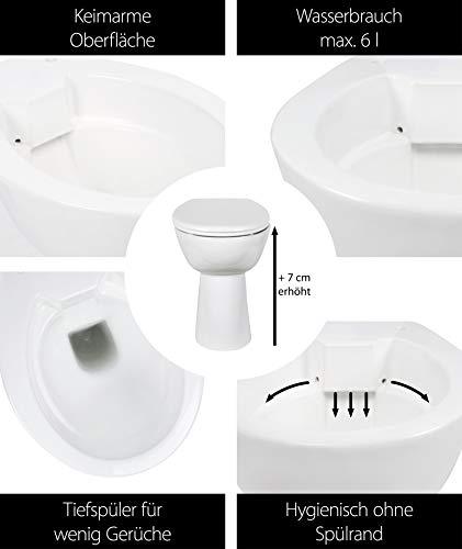 Stand-WC-Set +7 cm | Spülrandlos | Erhöhtes WC | Inklusive WC-Sitz | Für Senioren und große Menschen | Tiefspüler | Abgang waagerecht | Weiß | Spülrandlose Toilette | Spülrandloses WC | Stand-WC | Einfache Reinigung - 2