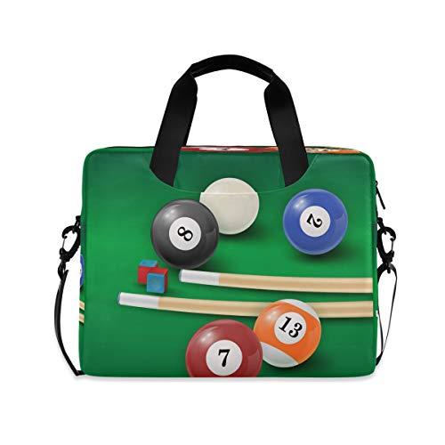 Hunihuni Laptop-Hülle für Snooker, Laptoptasche, Aktentasche mit Gurt, für Damen, Herren, Arbeit, Büro, Schule, 38,1 - 40,6 cm