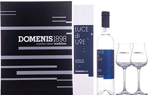 Domenis 1898 LUCE di UVE grappa di MALVASIA 38% - 500 ml in Giftbox with 2 glasses