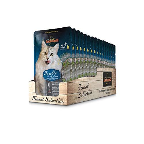 Leonardo Frischebeutel [16x85g Forelle + Catnip] | Getreidefreies Nassfutter für Katzen | Feuchtfutter Alleinfutter im Einzelportionsbeutel