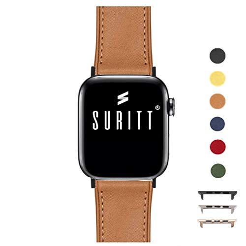 Suritt ® Correa para Apple Watch de Piel Rio (6 Colores Disponibles). 3 Colores de Hebilla y Adaptador para Elegir (Negro - Plata - Oro)(Series 1, 2, 3, 4 y 5). (42mm / 44mm, Saddle Brown/Black)