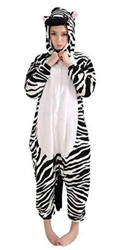 Kigurumi Adulto Costumi Animali per Carnevale Halloween o Spettacolo Party Show di Natale Pigiama Tuta da Cosplay Onesies Intimo Zoo Invernale Unisex da Donna e Uomo - S - Zebra