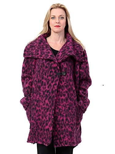 AKH FASHION Kurzmantel Wolle Damen Animal Print Leo, Oversize Jacke lila Damen große Größen A-Linie, XXL Mantel Damen gestreift