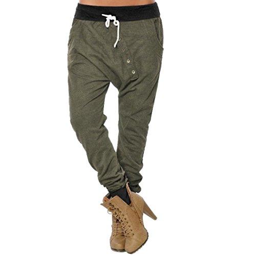 Toamen Femmes Pantalons taille haute Pantalons Loisir Bouton Pieds Cordon de serrage Pantalons Quatre couleurs (L, armée verte)
