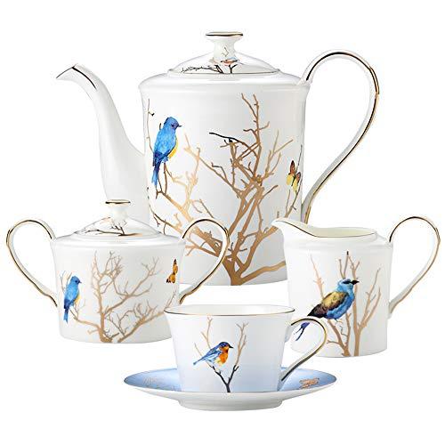 household items Juego de té de la Tarde de 11 Piezas, Taza y platillo de Porcelana de Hueso de Lujo de Alta Gama, Juego de café de Estilo Europeo, Juego de Tazas de té con Flores