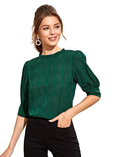 SheIn Women's Grid Office Blouse Work Top Puff Sleeve Shirt Green Large