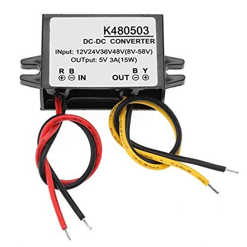 Convertidor de voltaje Regulador DC, 12V/24V/36V/48V a 5V 3A impermeable Buck Converter Módulo de fuente de alimentación, Convertidor DC Buck