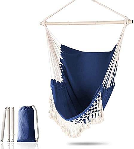 H-BEI Großer Hängesessel Relax Hanging Swing Chair Baumwollgewebe für überragenden Komfort und Langlebigkeit Perfekt für Innen- und Außenbereiche Schlafzimmer Schlafzimmer Terrassendeck
