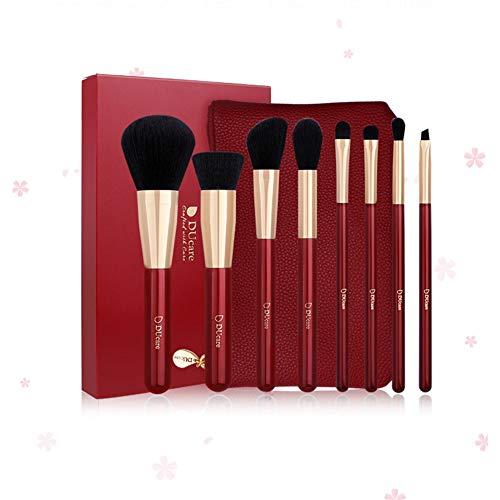 Pinceaux de maquillage à couverture complète, 8 pièces de luxe doux et sans cruauté - Synthétique - Kabuki luxueux - Cosmétiques rouges - Base de pinceau - Étui de grain litchi portable