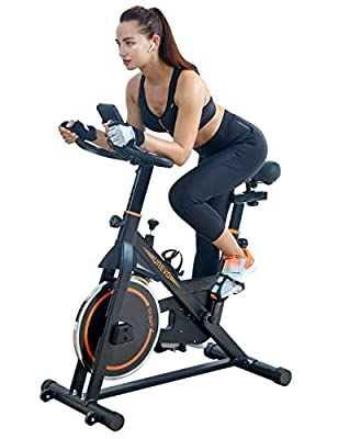 UREVO Indoor Cycling Bike Stationary,Exercise Bike Spinning Bike,Fitness Bikes for Home Cardio Workout Bike Training with Comfortable Seat Cushion & Floor Mat (Black)
