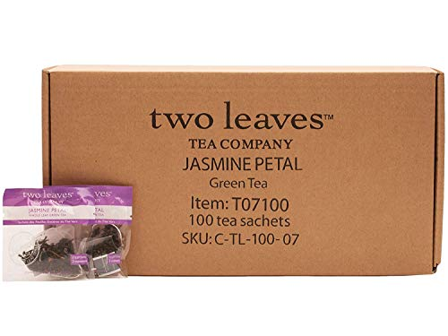 Two Leaves and a Bud Jasmine Petal Green Tea Bags, Whole Leaf Green Tea in Sachets, 100 Count