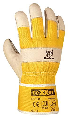 (12 Paar) teXXor Handschuhe Schweinsvollleder-Handschuhe NASHORN 12 x Leder Natur/Drell gelb 10/XL