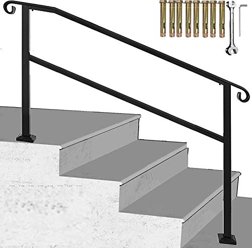 Outdoor Stair Railing,Black Wrought Iron Handrail,4 Step Transitional Handrail Metal Adjustable Outdoor Handrails for Exterior Steps with Installation Kit,Handrail with Installation Kit