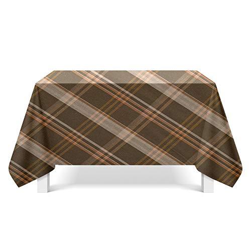 DREAMING-Brown Karierte Kunst Tischdecke Home Esstisch Stoff Tv-Schrank Couchtisch Stoff Runde Tisch Tischset 110cm * 170cm
