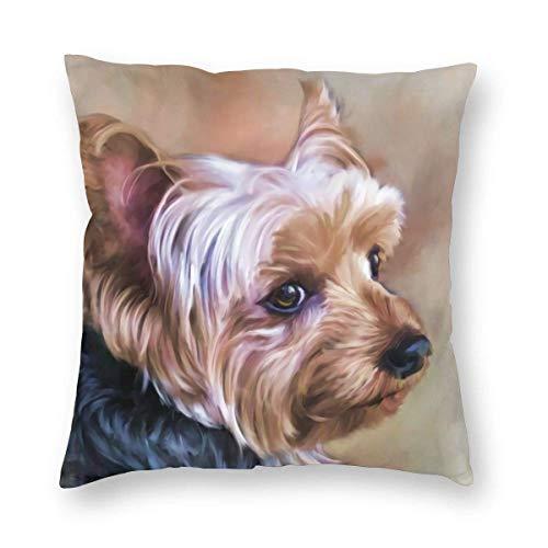 Fundas de Almohada Personalizadas para Perros Yorkie, Funda de Almohada para Perros Yorkie, Funda de Almohada Decorativa de algodón Suave para cojín de Yorkshire Terrier 45x45cm