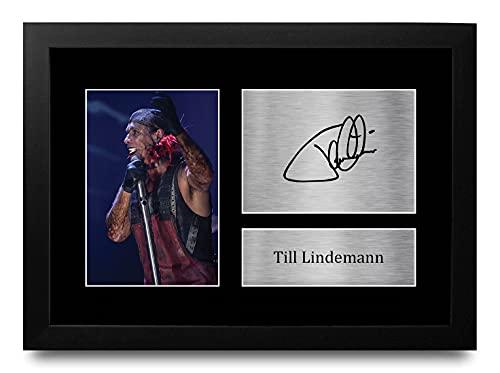 HWC Trading FR Till Lindemann Rammstein Geschenken Gedrukt Gesigneerd Autograph Foto voor Muziek Memorabilia Fans – A4…