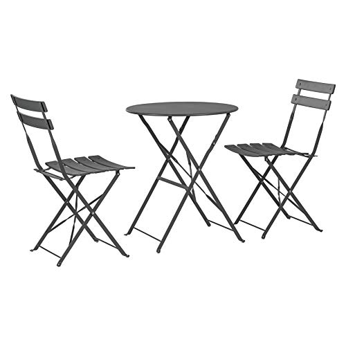 Harbour Housewares 3 Piece Sussex Bistro Set - Folding Table and Chairs Outdoor Patio Garden Furniture - Round - Grey