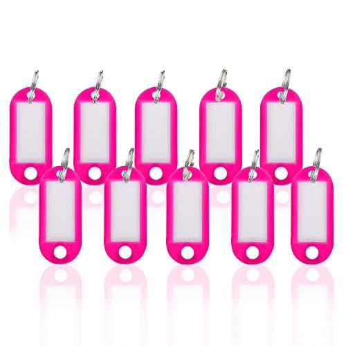 WINTEX Pinke Schlüsselschilder 100 Stück – mit auswechselbarem Etikett, witterungsbeständig – Schlüsselanhänger, Schlüsselbeschriftung