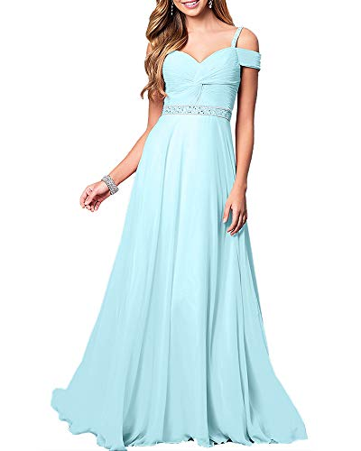Aofur New Lace Long Chiffon Formal Evening Bridesmaid Dresses Maxi Party Ball Prom Gown Dress Plus Size (Large, Light Blue)
