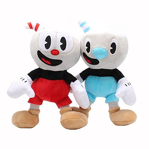 Sobneqce 23cmカップヘッドぬいぐるみムーガンゲームカップヘッド人形おもちゃ冒険ソフトぬいぐるみ動物プラシーおもちゃ子供の誕生日クリスマスプレゼント かわいいぬいぐるみ (Color : 2pcs per set)