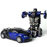 1pc Trasformazione Robot Car Car Transformer Auto Deformazione Toy Piccolo Robot Veicolo Bambini Inerziale Mini Collision Deformation Bugatti Azione Auto Giocattolo, Blu