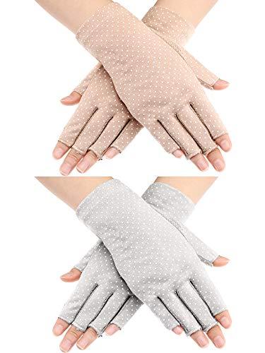 Maxdot 2 Pairs Sunblock Fingerless Gloves Non-slip UV Protection Driving Gloves Summer Outdoor Gloves for Women and Girls (Gray and Khaki)