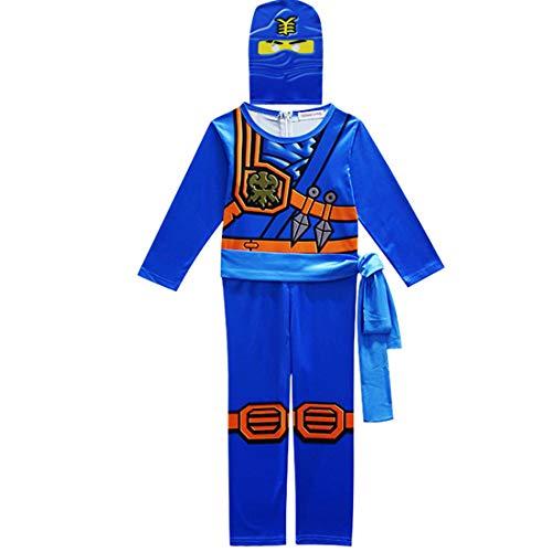 Thombase Ninja Krieger Verkleidung Outfit Kostüm für Jungen Kinder Cosplay und Dress Up Party Clotrhes mit Waffe Gr. 120 cm, blau