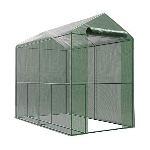 Serre de Jardin Classique - bache armée - 2,26m2-1,8 x 1,2m avec 2 étagères et Porte zipée