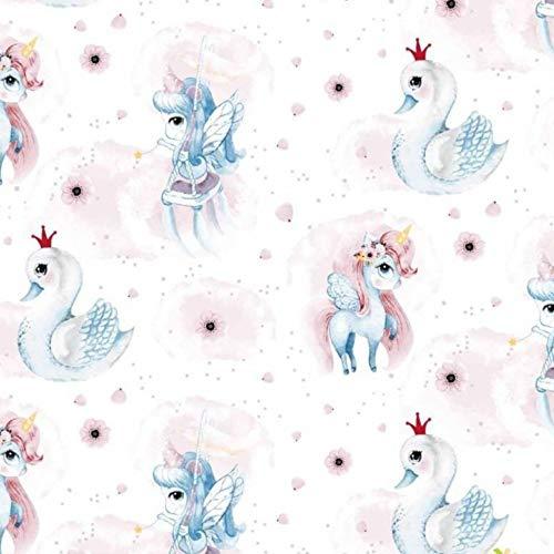 Pingianer - Tela de algodón para niños, 100 % algodón, por metros, artesanía, tela de costura, diseño con unicornios, Unicornio cisne rosa, azul, blanco., 200x160cm (11,99€/m)