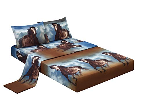 HIG 3D Bed Sheet Set -4 Piece 3D Running Texas Wild Horse Printed Sheet Set King Size (D06) - Soft, Breathable, Hypoallergenic, Fade Resistant -Includes 1 Flat Sheet,1 Fitted Sheet,2 Shams