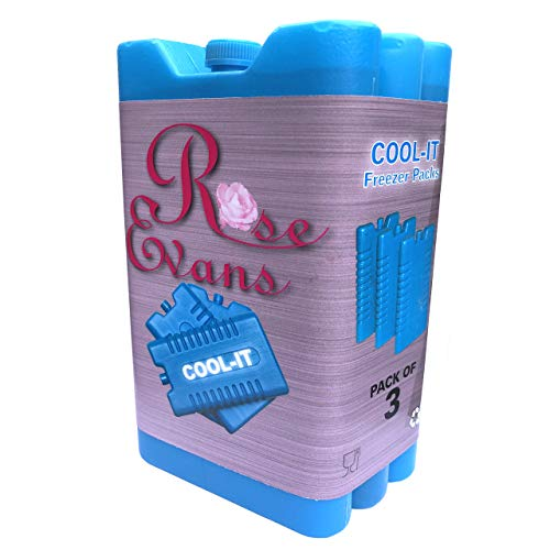 Rose Evans® Ice Cooler Freezer Blocks - Suitable For Cool / Lunch Boxes - 3 Pack - H15 x W8 x D2cm
