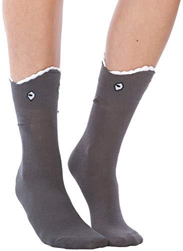 Foot Traffic - 3D Shark Bite Socks, Cozy Leg-Chomping Fun, Charcoal (Women's Shoe Sizes 4–10)