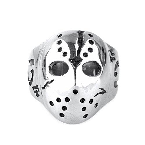 copaul Herren Edelstahl poliert Halloween Jason Maske Ring, Silber