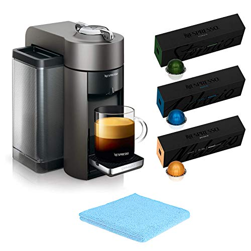 Nespresso Vertuo Coffee and Espresso Machine by De'Longhi with 30 Capsules Coffees (10 Stormio, 10 Odacio, 10 Melozio)- Family Christmas Holiday Bundle for Home or Office - BROAGE Cleaning Cloths