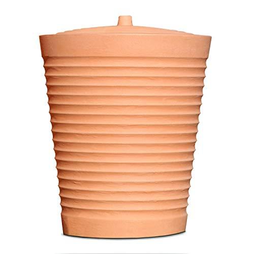 Regentonne rund Regenwassertank Trentino mit 275 Liter Volumen Farbe terrakotta aus UV- und witterungsbeständigem Material. Frostsicherer Regenwassertonne bzw. Regenfass mit kindersicherem Deckel