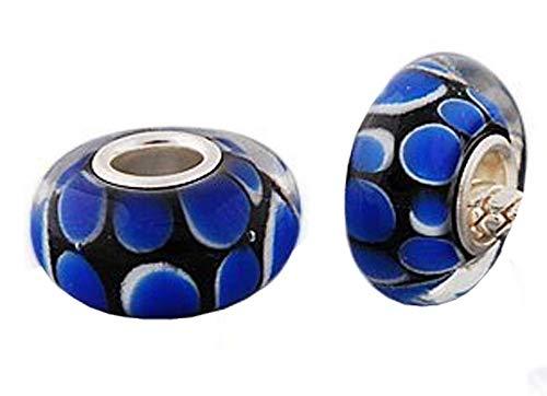 Andante-Stones 925 sterling zilver Murano glas Bead Bubbles Blue Element Ball voor European Beads + Organza zakje