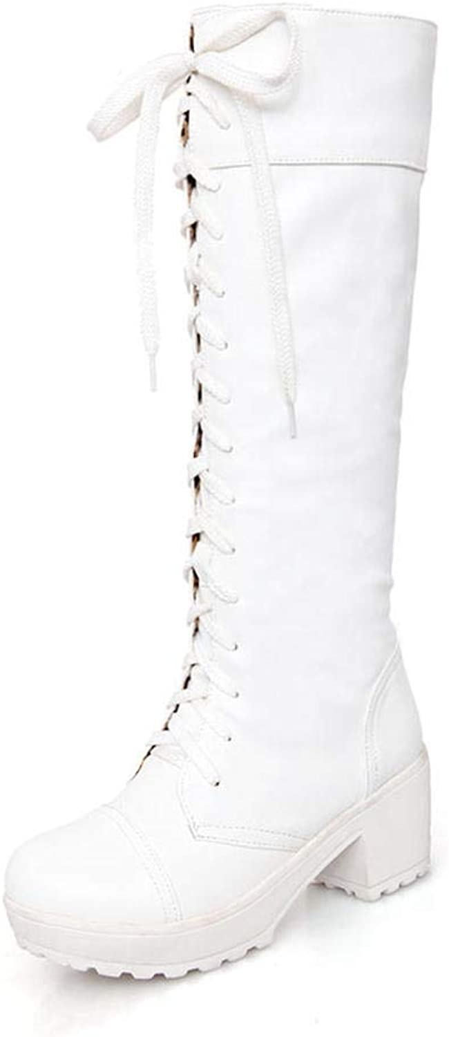 Women Winter Knee-High Boots Fashion Cool Lace-up Round Toe Square High Platform Riding shoes