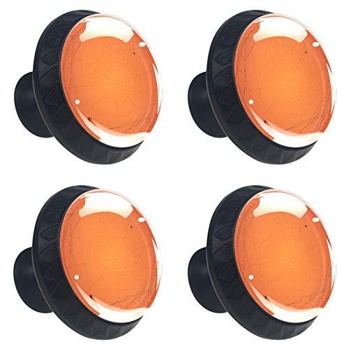 4 pomos de cristal para aparador, tiradores de cajones, tiradores de gabinete para el hogar, cocina, armario, armario, color naranja