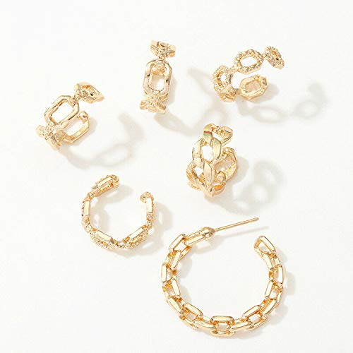 6Pcs/Set Punk Earrings Earrings Thick Chain Metal Ear Bone Clamps Girls Comfortable Design Girl Fine Prom Brides Party Beauty Cute Daily Designs Casual Necklace