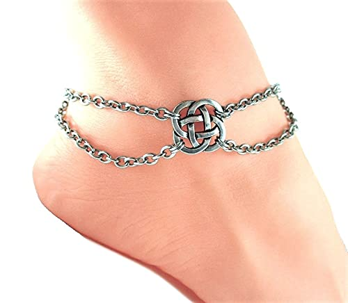 Celtic Endless Knot Silver Charms Anklet Stainless Steel Chain Personalized Jewelry Add Initial or Birthstone Mom Wife Sister Gift