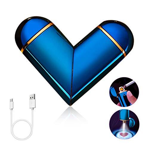 ASANMU Accendino USB, Accendino Elettrico USB Ricaricabile Antivento Elettronico Accendino, con Cavo USB e Confezione Regalo, Regalo per Uomo Donna Compleanno Regalo per Lui Regalo Fidanzato, Blu